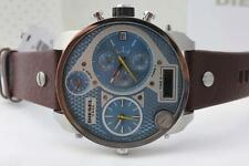 NWT Diesel Mr Daddy Stainless Blue Dial Brown Leather Chonograph Watch DZ7322