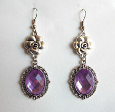 CAMELLIA FILIGREE VICTORIAN STYLE LILAC PURPLE SILVER PLATED EARRINGS CFE Hook
