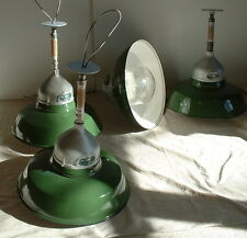 "(1)  VTG 18"" Appleton Porcelain Industrial Globe Green Enamel Lamp Light"