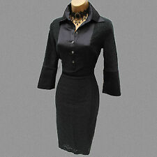 KAREN MILLEN Black Lace Tailored Shirt Style Cocktail Office Pencil Dress 8 UK