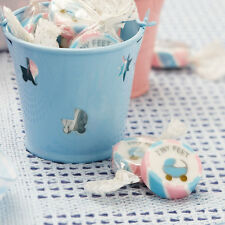 25 x Baby Shower Christening Tiny Feet Pink & Blue Rock Sweets -  favours