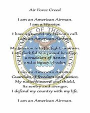 "Airman's Creed Printed Fabric Block for Quilting or Applique  8"" x 10"""