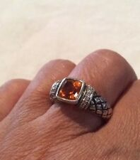 Scott Kay Sterling Basket Weave Ring Madeira Citrine Diamond Ring Size 7  EUC