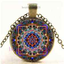 Vintage Sri Yantra Flat Photo Cabochon Glass Bronze Chain Pendant Necklace