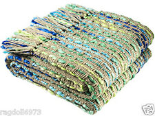 LOVELY FAIR TRADE SOFT WEAVE BLUE GREEN TURQUOISE CHUNKY THROW 125cm x 150cm