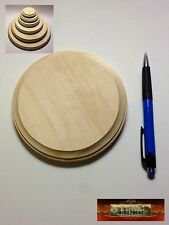 "M00389 MOREZMORE 1 Unfinished 5"" Round Wood Base Wooden Plaque Stands T20A"