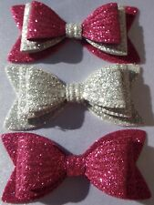 "SET OF 3 GIRLS PINK & SILVER SPARKLY GLITTER 3"" DOUBLE HAIR BOWS ALLIGATOR CLIP"