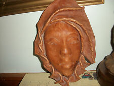 HAND MADE TWO PIECE LEATHER MASK WALL HANGER SIGNED