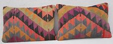 14x20'' Vintage Handwoven SET of 2 Faded Color Large Kilim Lumbar Pillow Covers