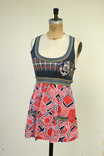 Scrapbook Baby Doll Mini Dress Racer Back Nautical Resort Smock Pockets Size S