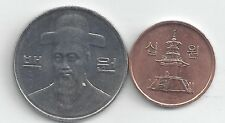2 DIFFERENT COINS from SOUTH KOREA - 10 & 100 WON (BOTH 2012)