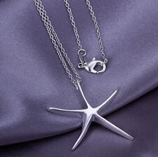 1X Women Ladies Daily Girl Silver Cute Starfish Beaded Pendant China Necklace CH