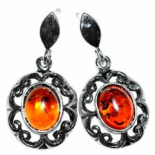 4.75g Authentic Baltic Amber 925 Sterling Silver Earrings Jewelry A8317