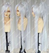 Masamune New long Silver White Gradient Cosplay Wig Ponytail