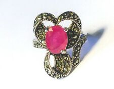 Antique Victorian Style Rubelite Ruby Marcasite Sterling Silver Bow Ring Sz 7