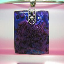 1 3/4 Purple Rectangle Abalone Paua Shell Handmade 925 Sterling Silver Pendant