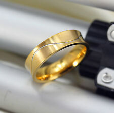 6mm MENS  titanium steel gold wedding engagement ring band  size W    alm0309203
