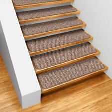 "Set of 12 SKID-RESISTANT Carpet Stair Treads 8""x23.5"" PRALINE BROWN runner rugs"