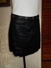 Jupe courte 100% lin noir doublé NATHALIE CHAIZE 38fr gros clous metal