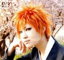 New Straight Short Cosplay Hair Kurosaki Ichigo BLEACH Anime Wig Orange Costume