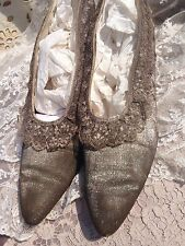 Stunning Edwardian Early 20s Silver Sparkle Lame And Metallic Lace Antique Shoes