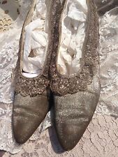 Stunning Edwardian/20s Silver Sparkle Lame/Metallic Lace Antique Shoes~Twinkly