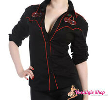 Cherry skull Bluse 50er Rockabella Hillbilly Western Country Style Black/red