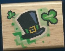 LEPRECHAUN HAT SHAMROCKS Irish Clover CANADIAN MAPLE COLLECTION NEW RUBBER STAMP