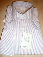 NEW $190 IKE BEHAR MENS SHIRT Sz 15.5 34 Non-Iron Performance white stripe FC