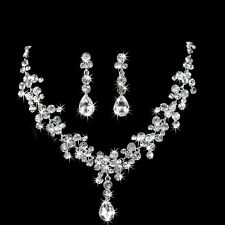 Shinny Crystal Rhinestone Drop Necklace Earrings Jewelry Sets For Wedding Bride