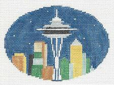 SEATTLE Space Needle ~ HP Needlepoint Canvas Oval Ornament by Kathy Schenkel