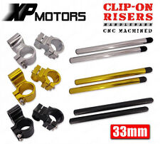 """33mm CNC Clip-Ons Riser Handlebars 1"""" Raised Universal Fit 33mm Motorcycle Forks"""