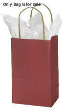 "Count of 100 New Retail Small Brick Red Paper Shopping Bag 5 ¼"" x 3 ¼"" x 8 ¾"""