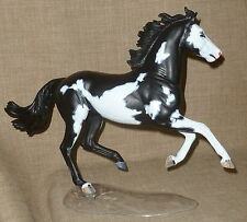 Magnificent BREYER OOAK CM CUSTOM PAINTED & MAPPED BLACK OVERO STALLION w/BASE