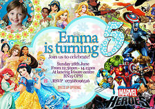 Personalised Birthday Party Invitations Disney Princess+super hero  8 cards