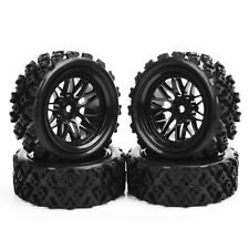 Rubber Tires Wheel Rim For RC 1/10 Rally Racing Off Road Car PP0487+BBNK 4Pcs