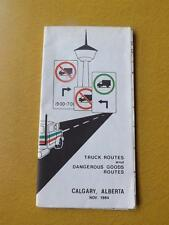 MAP TRUCK & DANGEROUS GOODS ROUTES CALGARY ALBERTA CANADA 1984