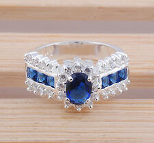 Unique jewelry sapphire gemstone 925 Silver ring Size :9 M216