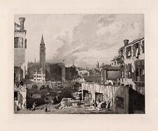 """Impressive 1800s CANALETTO Antique Etching """"History of Old Venice"""" SIGNED COA"""