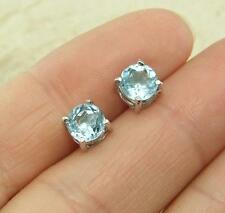 Sky Blue Topaz 925 Silver Stud Earrings 6mm Round Jewellery