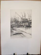 """Louis Orr Original Signed """"Ports of America"""" Etching - New Orleans, Louisiana"""