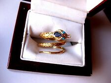 "VINTAGE 18K YELLOW GOLD RING ""SERPENT"" with NATURAL SAPPHIRE & TURQUOISES,1950's"
