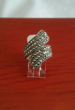 92.5 STERLING SILVER FANCY SPOON MARCASITE RING SIZE 7 - ARGENT CREATIONS