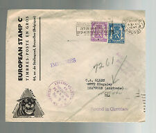 1945 Brussels Belgium Airmail Advertising Cover to USA Stamp Dealer