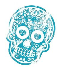 Distresed Aged BLUE Mexican Day Of The Dead Sugar Skull Motif Car Sticker Decal
