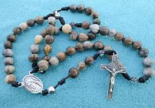 JOB'S TEARS SEED Beads UNIQE HANDMADE Rosary Rosaries from Medjugorje 16.5 inc