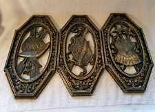 3 Vintage  Homco Spanish Gothic Medieval  Wall Plaques Armor Coat of Arms