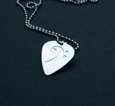 Etched Sterling Silver Bass Clef Guitar Pick Necklace