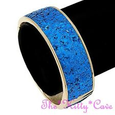Retro Funky Beatnik Kitsch Bright Royal Blue & Gold Hinged Glitter Bangle Cuff