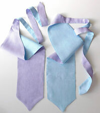 Reversible cravat Lilac and Blue Mens formal wedding Single wing Self tie NEW